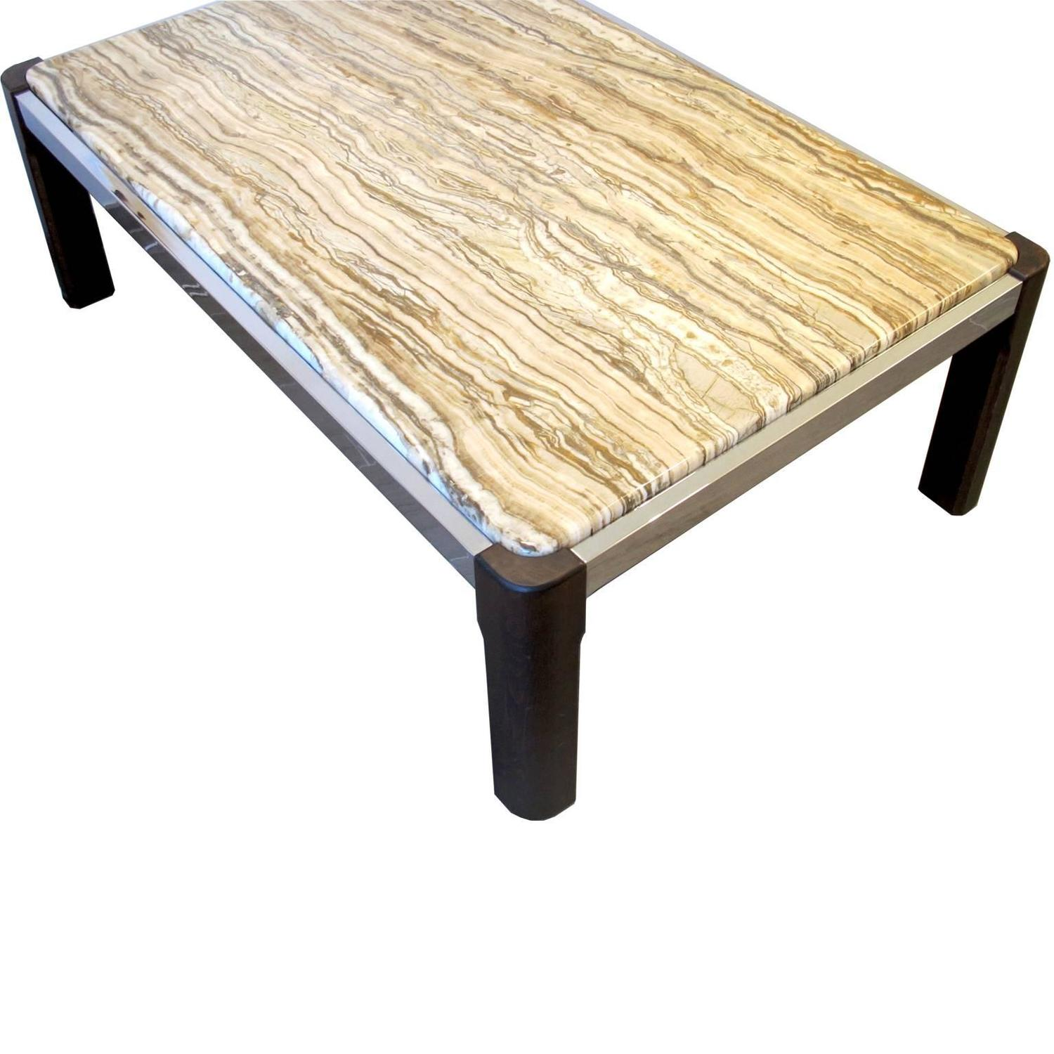 Antique Single Teak Slab Top Coffee Table At 1stdibs: Marble-Top Scandinavian Coffee Table With Teak And Chrome
