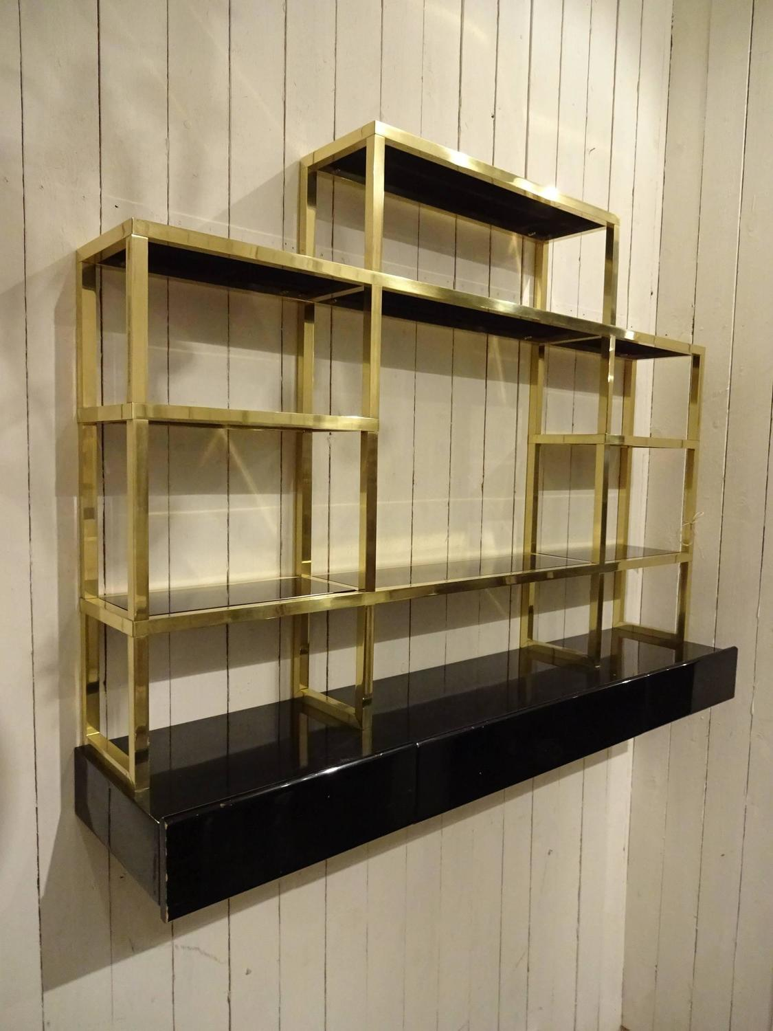 French Brass And Blank Glass Shelving Unit For Sale At 1stdibs