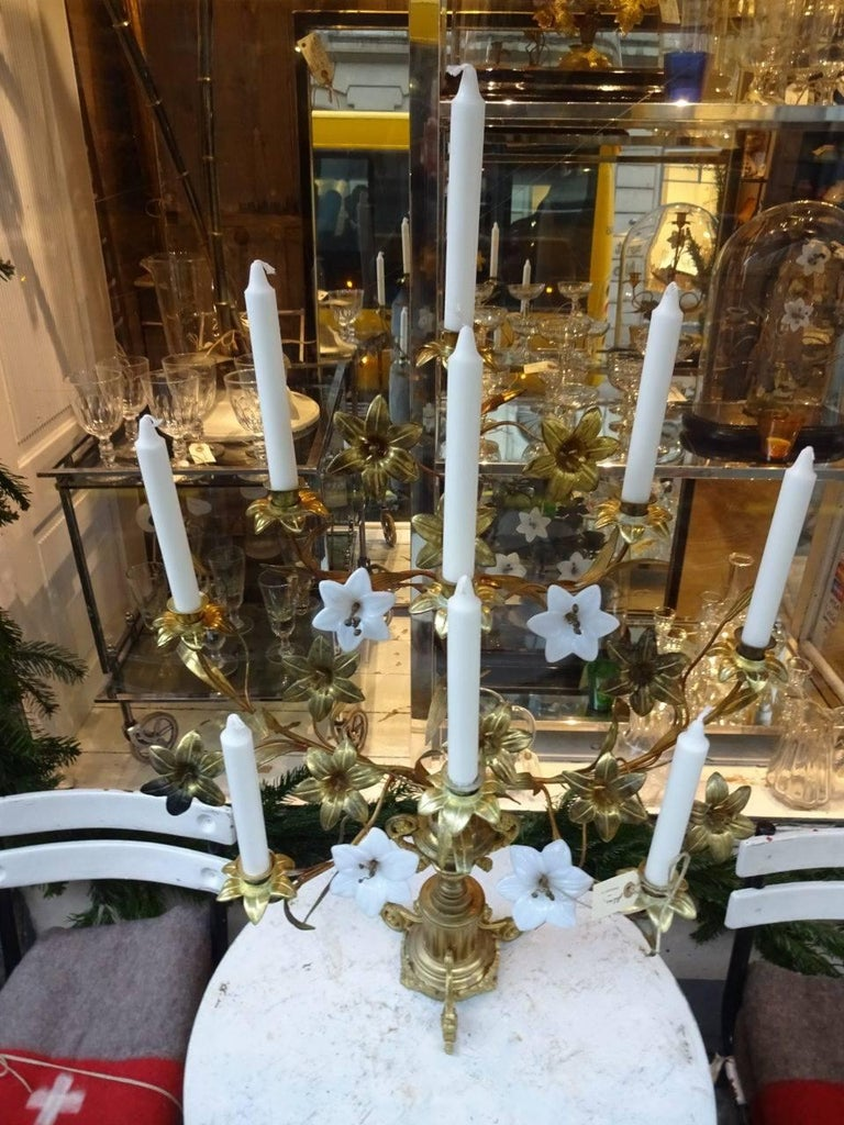 Gilt Brass and Opaque Glass Floral French Church Candlestick Candelabra  For Sale
