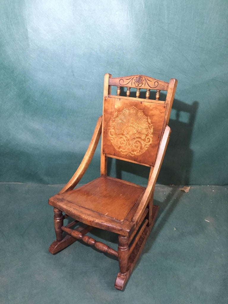 Antique Decorative Press Back Childs Rocking Chair For