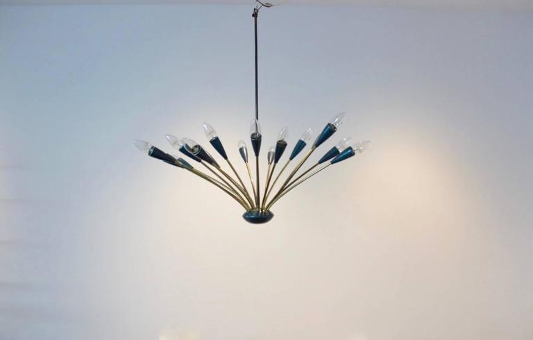 Italian Mid-Century Modern Sputnik Brass Chandelier, Sixteen-Arm For Sale 1