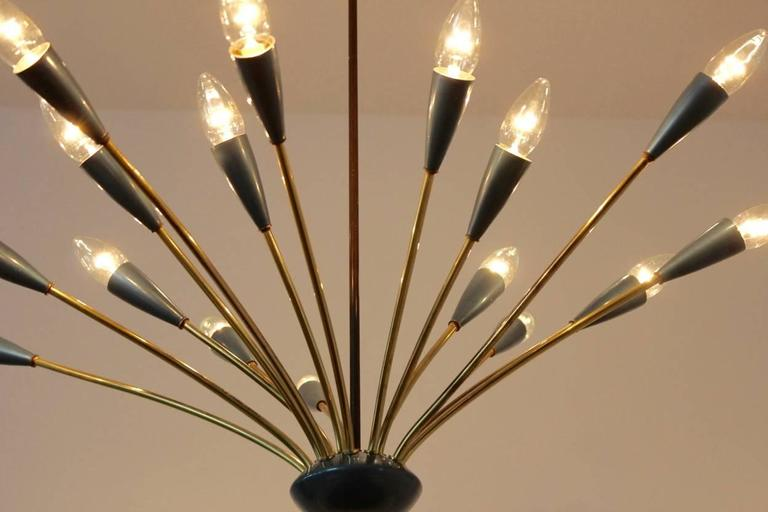 Lacquered Italian Mid-Century Modern Sputnik Brass Chandelier, Sixteen-Arm For Sale