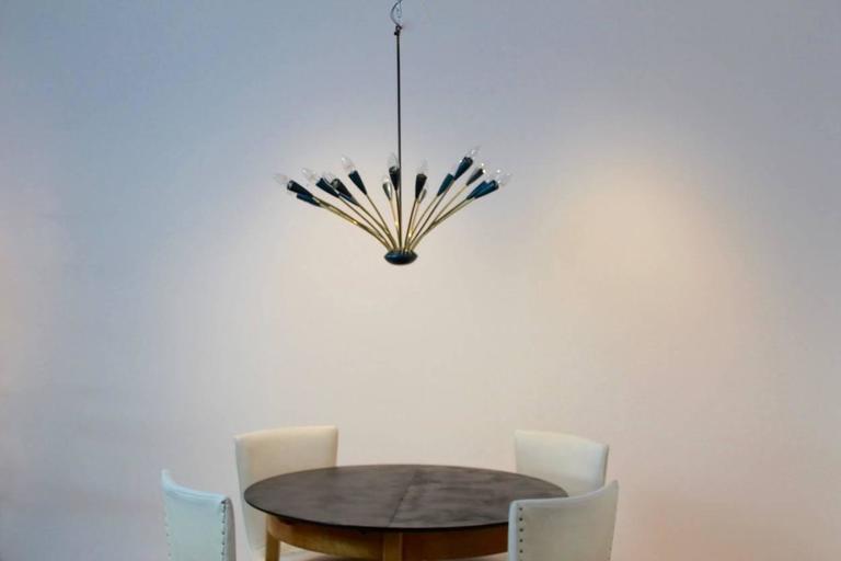Italian Mid-Century Modern Sputnik Brass Chandelier, Sixteen-Arm For Sale 4