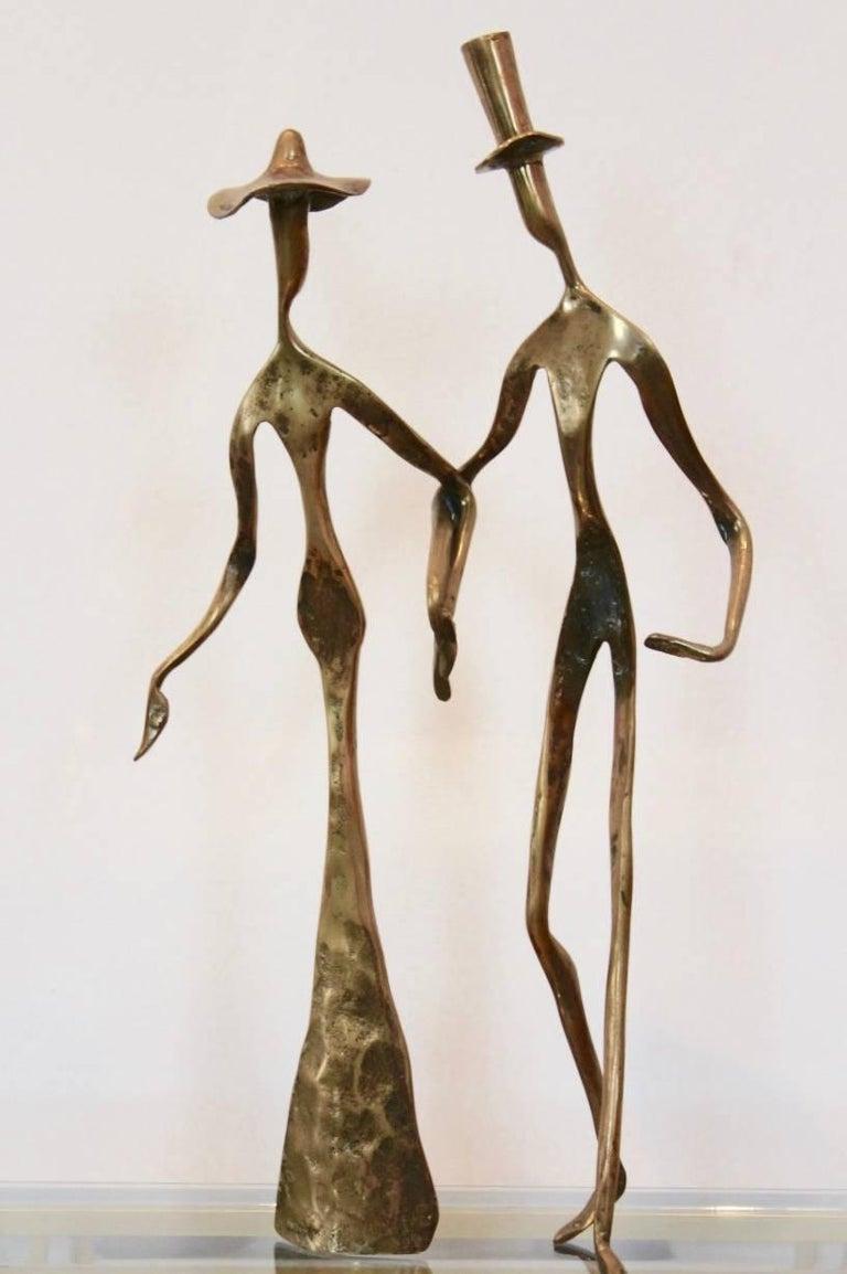 Elegant Bronze Holding Hands Sculpture 1970s For Sale