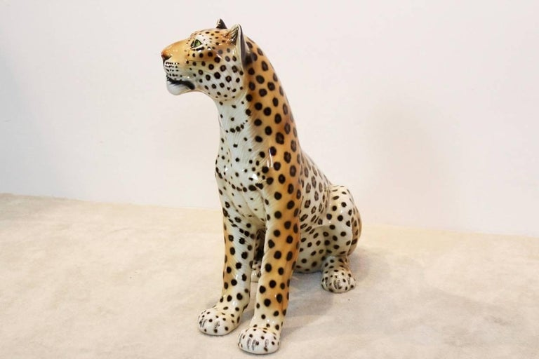 Large Hand Painted Porcelain Leopard Sculpture By Ronzan