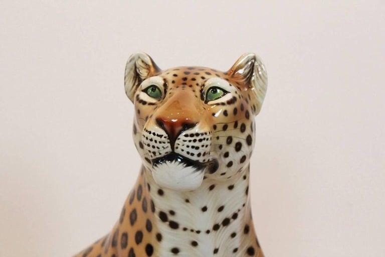 Large Hand Painted Porcelain Leopard Sculpture By Ronzan