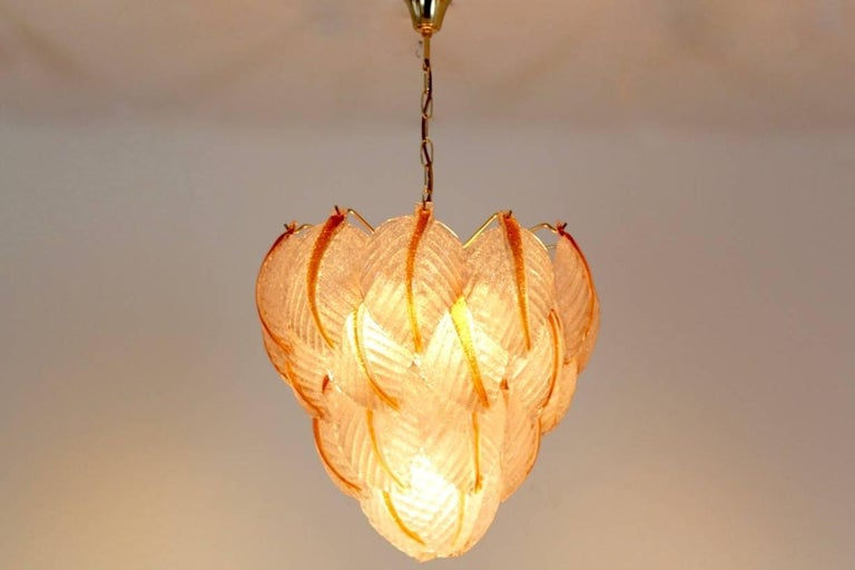 20th Century Original Murano Glass Leaves Chandelier by A.V. Mazzega, Italy, 1970s For Sale