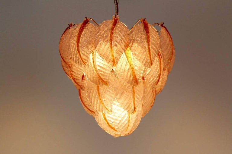 Italian Original Murano Glass Leaves Chandelier by A.V. Mazzega, Italy, 1970s For Sale