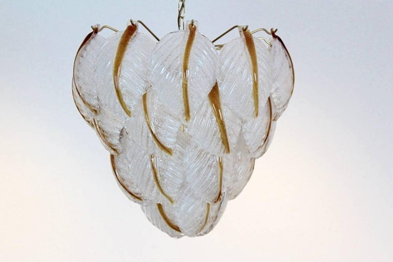 Original Murano Glass Leaves Chandelier by A.V. Mazzega, Italy, 1970s In Excellent Condition For Sale In Voorburg, NL