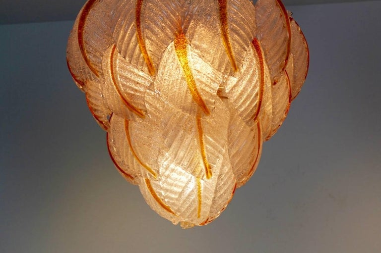 Brass Original Murano Glass Leaves Chandelier by A.V. Mazzega, Italy, 1970s For Sale