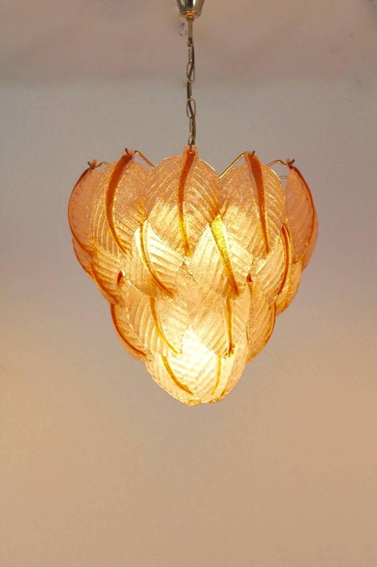 Original Murano Glass Leaves Chandelier by A.V. Mazzega, Italy, 1970s For Sale 2