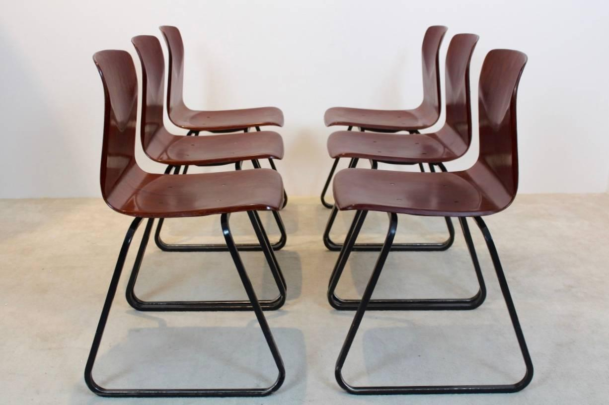 20th Century Large Stock Of Brown Stackable Pagholz Galvanitas S22  Industrial Diner Chairs, 1 For
