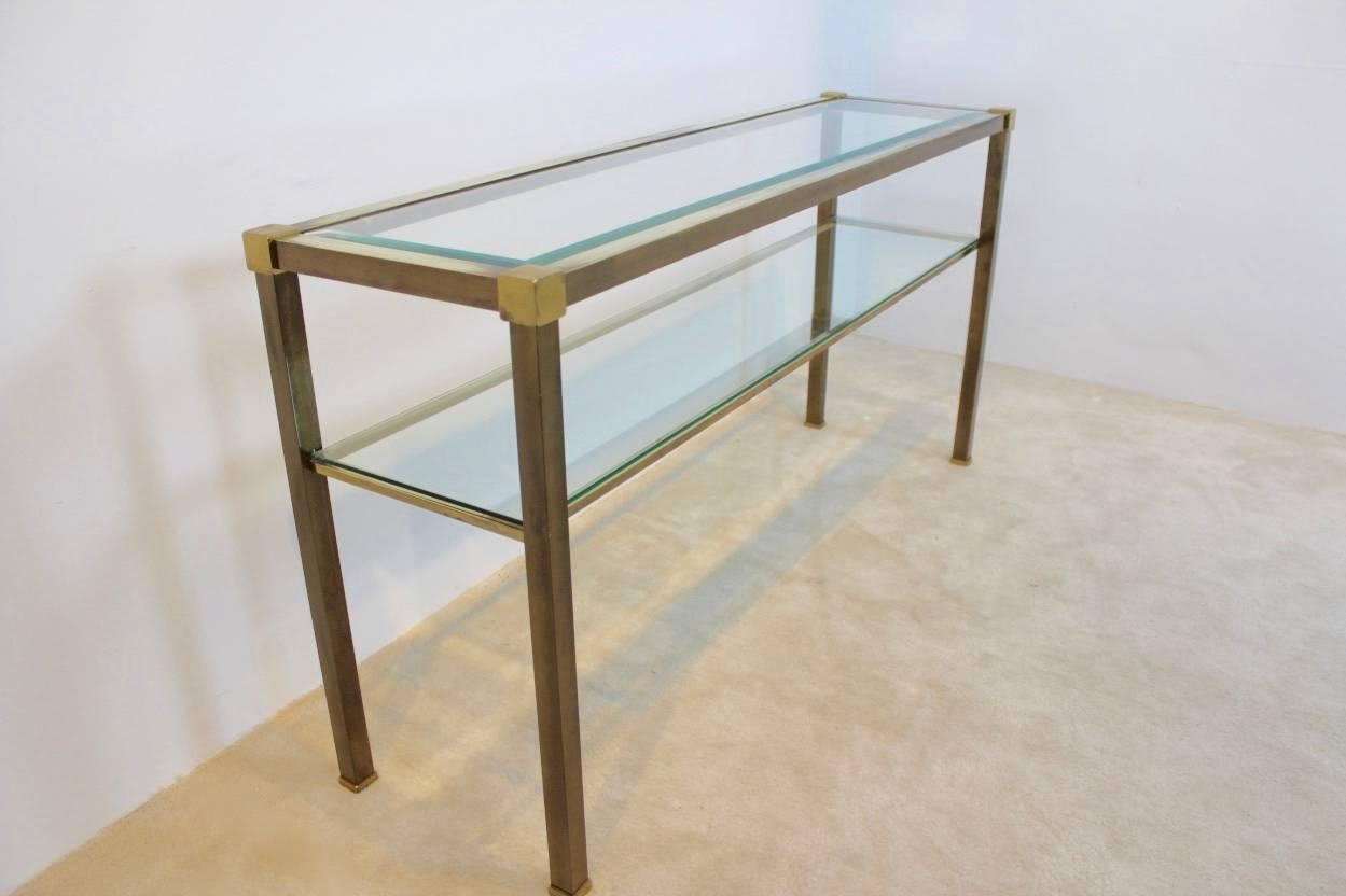 Beautiful Two Tiered Brass Console Table Made In France, 1970s. Unique  Patina And