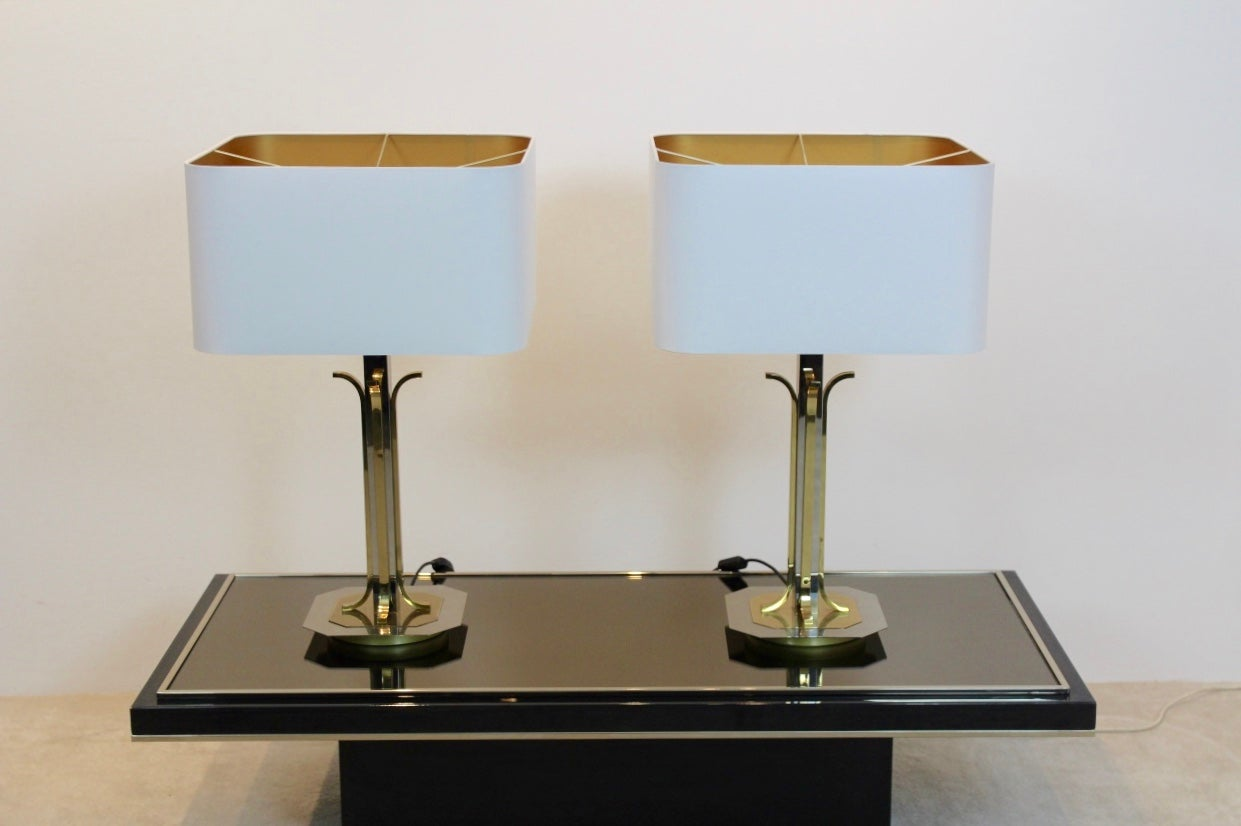 Pair Of Large Belgian Brass And Chrome Willy Rizzo Style Table Lamps