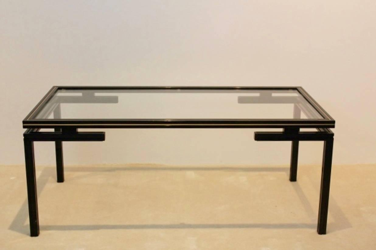 Pierre vandel paris black and gold lacquered french coffee for Paris coffee table