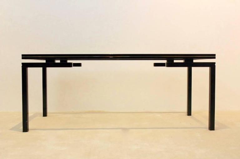 Pierre Vandel Paris Black And Gold Lacquered French Coffee Table 2