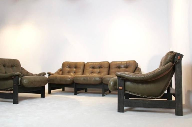 Brazilian Ebony and Leather Three-Piece Seating Group, Jean Gillon For Sale 3