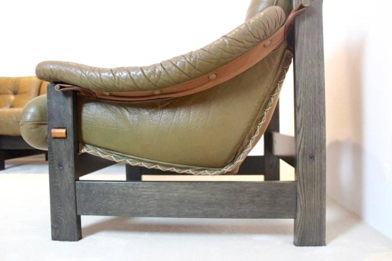 Brazilian Ebony and Leather Three-Piece Seating Group, Jean Gillon For Sale 1