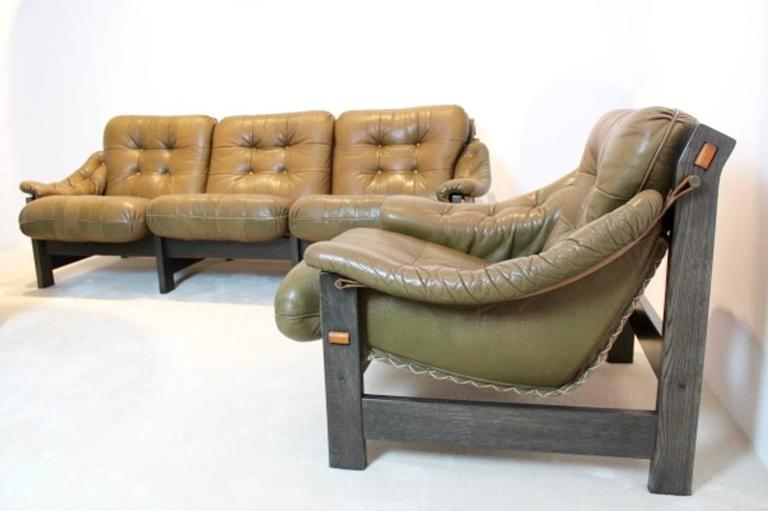 Mid-Century Modern Brazilian Ebony and Leather Three-Piece Seating Group, Jean Gillon For Sale