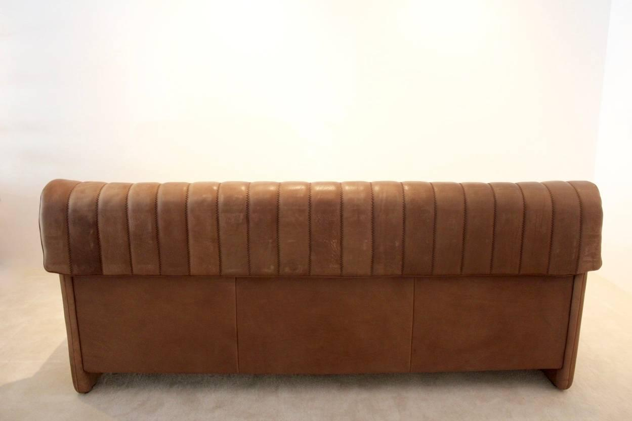... -Century Three-Seat Sofa in Soft Thick Brown Neck Leather at 1stdibs