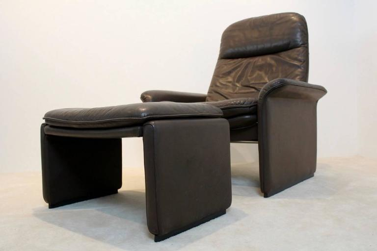 De Sede DS 50 Adjustable Lounge Chair And Ottoman In Soft Brown Neck  Leather 2