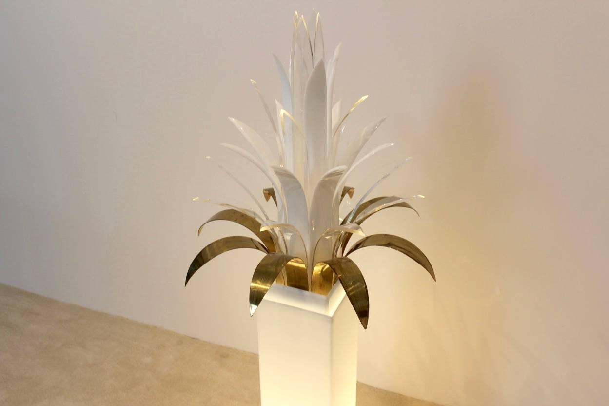 Mid Century Palm Tree Lucite And Brass Floor Lamp By Peter