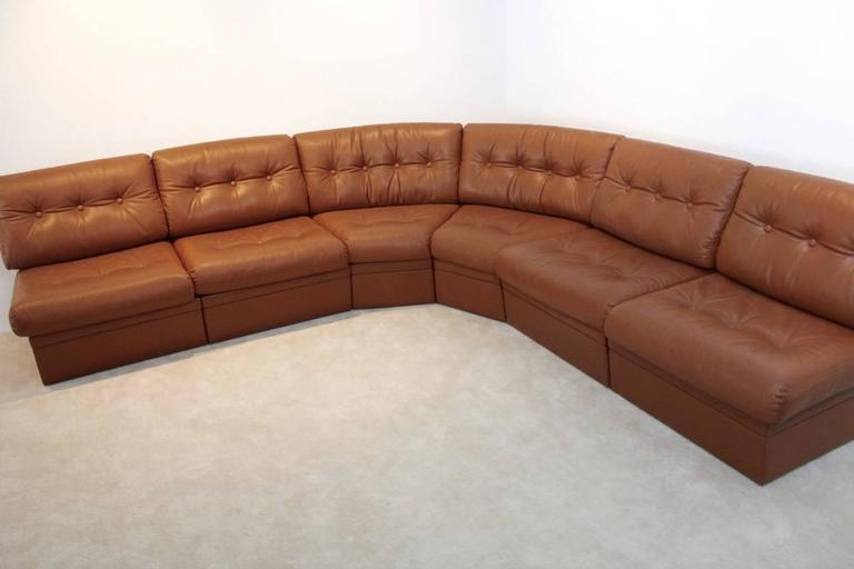 Grand Sectional Lounge Sofa In Cognac Leather At 1stdibs