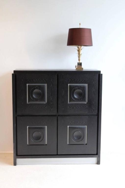 Belgian Brutalist Black Ebonized Bar Cabinet with Graphic Doors, Belgium For Sale