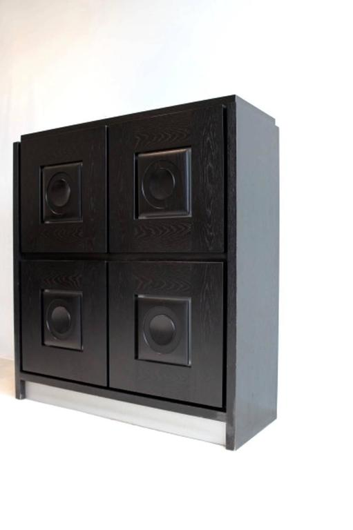 Brutalist Black Ebonized Bar Cabinet with Graphic Doors, Belgium For Sale 2