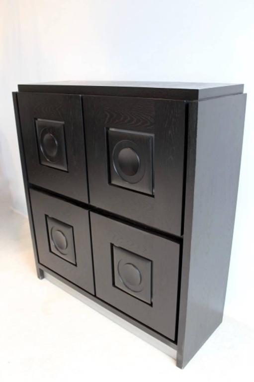 20th Century Brutalist Black Ebonized Bar Cabinet with Graphic Doors, Belgium For Sale