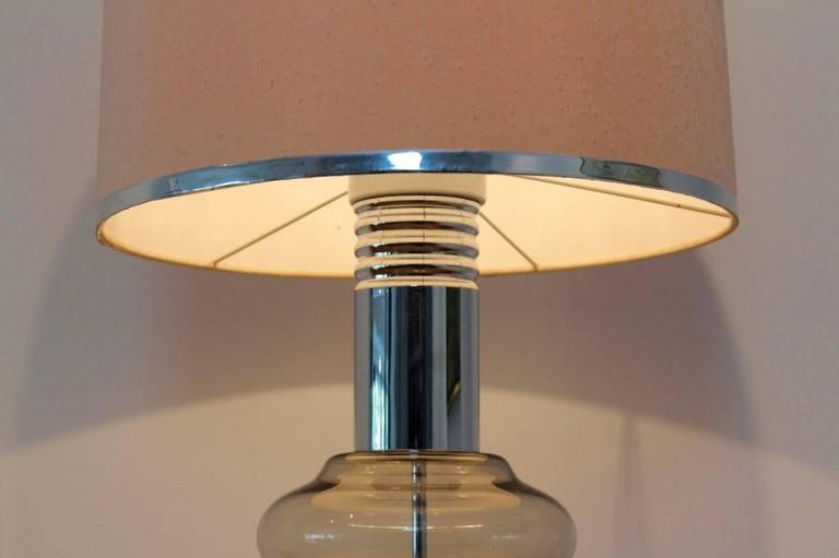 Doria Large Chrome and Glass Mid-Century Table or Floor Lamp ...