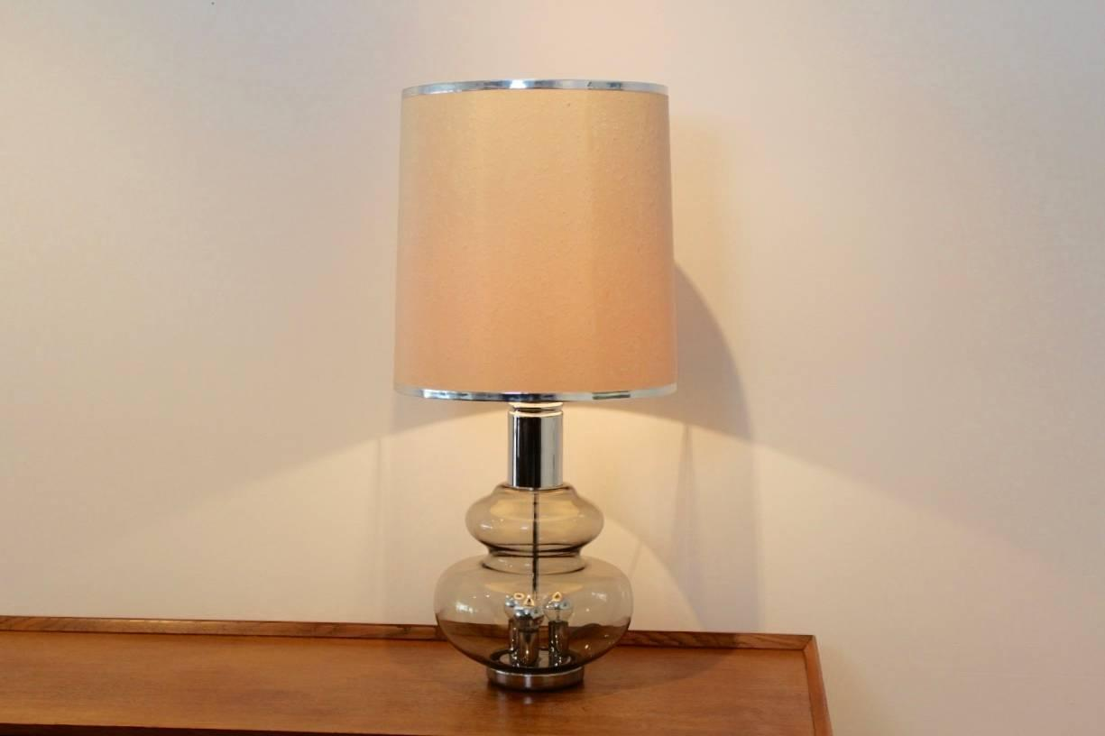 doria large chrome and glass mid century table or floor lamp germany. Black Bedroom Furniture Sets. Home Design Ideas