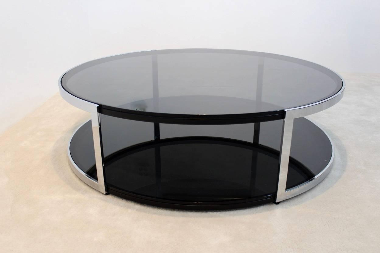 Belgochrom Chrome And Smoked Glass Coffee Table For Sale At 1stdibs