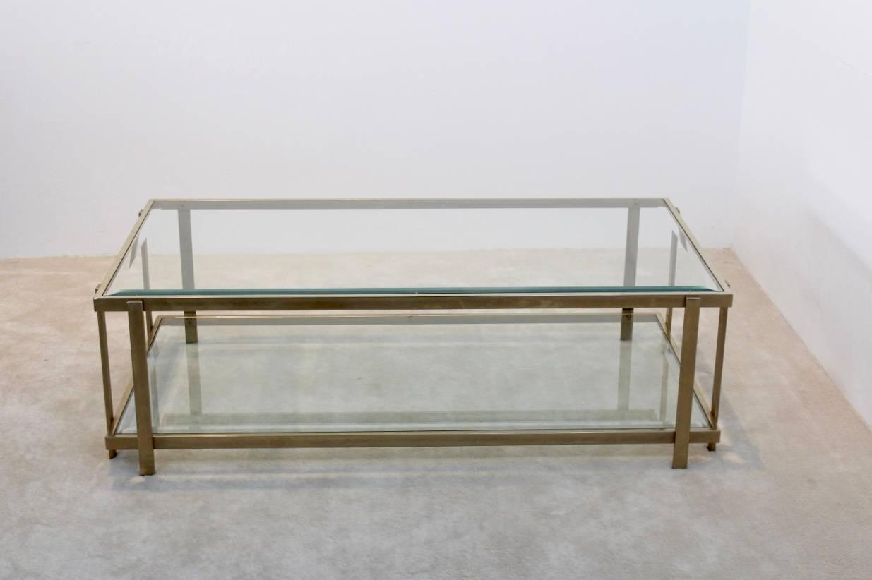 Large Graphical Glass Coffee Table On An Elegant Brass Frame France