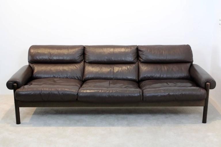 Scandinavian Mid Century Leather Three Seat Sofa 1970s At 1stdibs