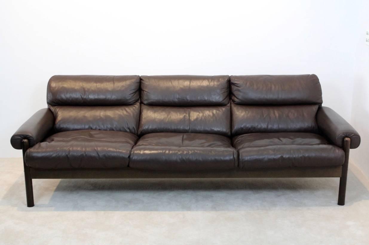 Scandinavian Mid Century Leather Three Seat Sofa 1970s