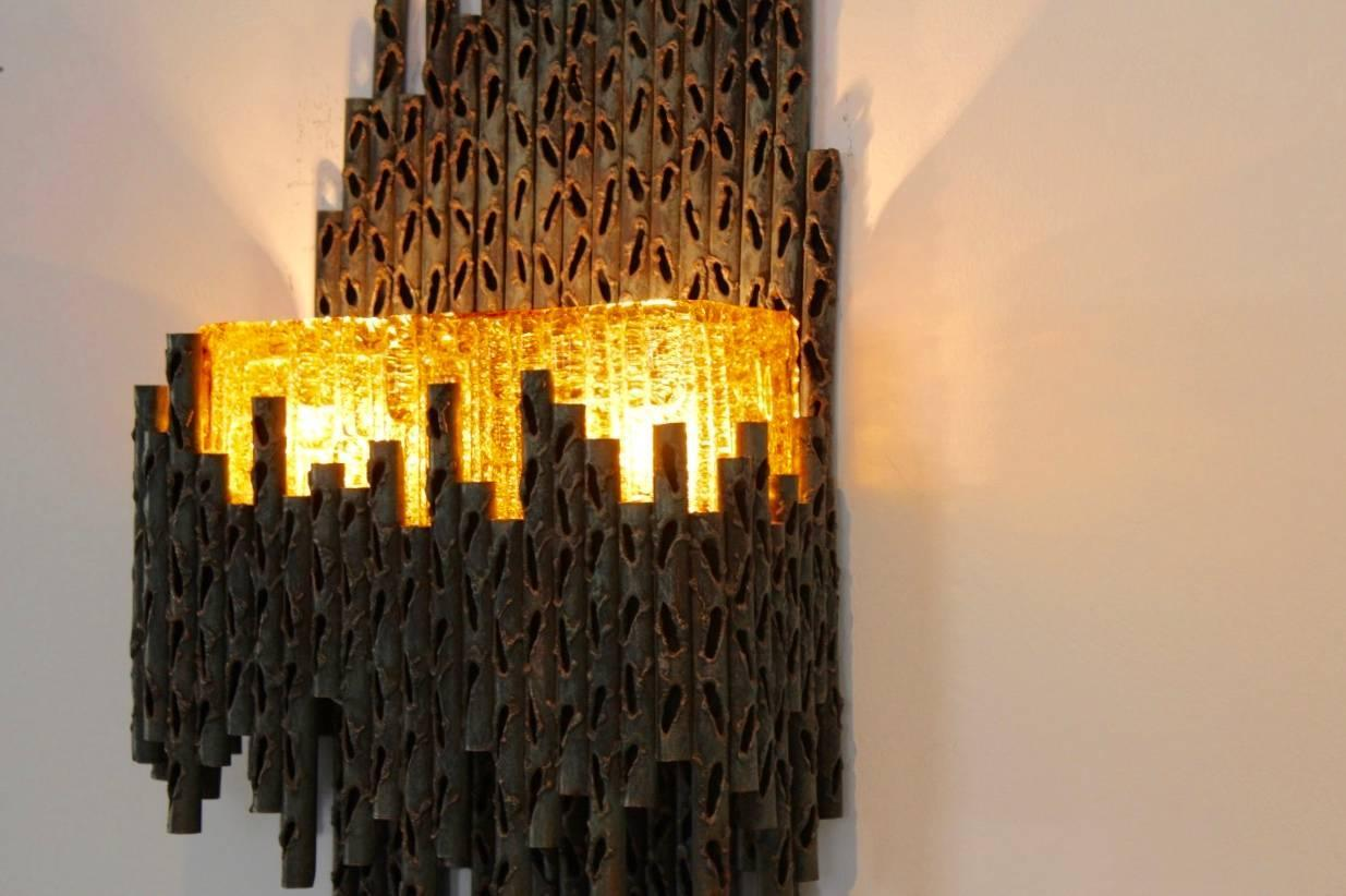 Marcello Fantoni Brutalist Metal Sculptured Wall Lamp, Italy For ...