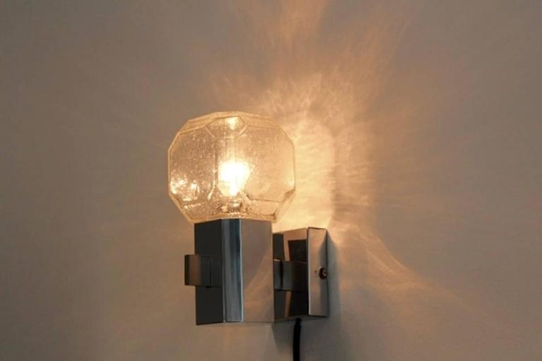 Set of Two Chrome Glass Theatre Wall Lights by Cosack, Germany For ...