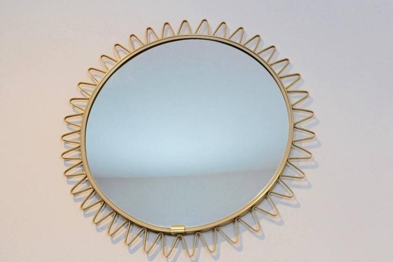 Mid-Century Modern Elegant Mid-Century Brass Framed Sunburst Mirror, France For Sale