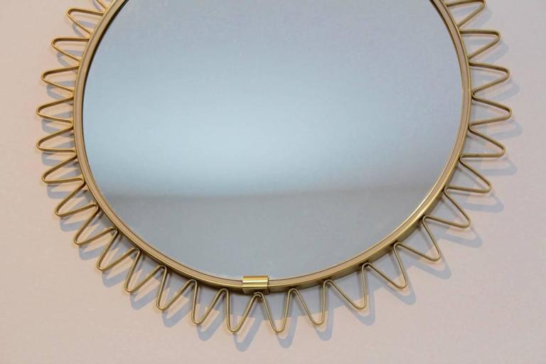 French Elegant Mid-Century Brass Framed Sunburst Mirror, France For Sale