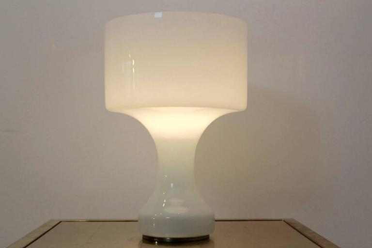 Mid-Century Modern Sophisticated Snow White Venini Murano Glass XL Table L& Italy & Sophisticated Snow White Venini Murano Glass XL Table Lamp Italy ...
