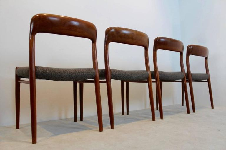 Model 75 Dining Chairs by Niels Otto Møller for J.L. Møllers Møbelfabrik A/S In Excellent Condition For Sale In Voorburg, NL