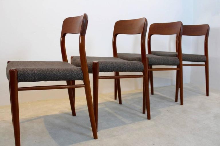 Scandinavian Modern Model 75 Dining Chairs by Niels Otto Møller for J.L. Møllers Møbelfabrik A/S For Sale