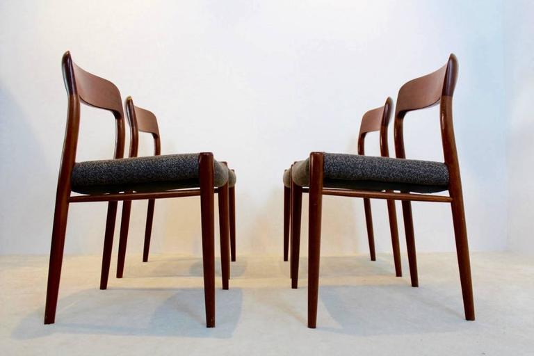 Teak Model 75 Dining Chairs by Niels Otto Møller for J.L. Møllers Møbelfabrik A/S For Sale