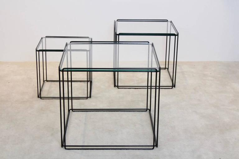 French Graphical Isocele Nesting Tables by Max Sauze for Arrow, 1970s