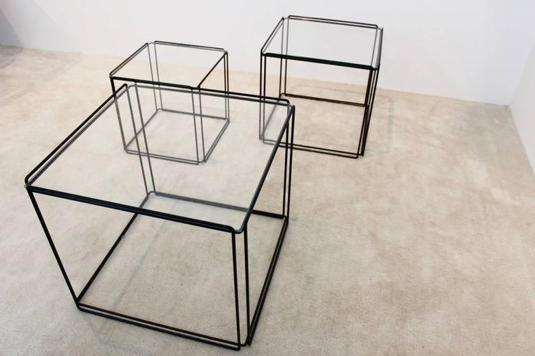 Steel Graphical Isocele Nesting Tables by Max Sauze for Arrow, 1970s