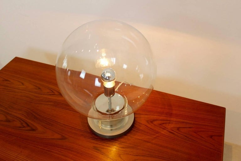 Dutch Iconic RAAK Amsterdam Extra Large Globe Chrome and Glass Table Lamp For Sale