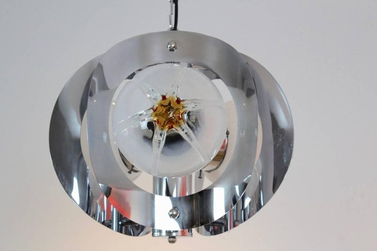 Mid-Century Modern Geometric Chrome and Frosted Glass Chandelier by A.V. Mazzega For Sale