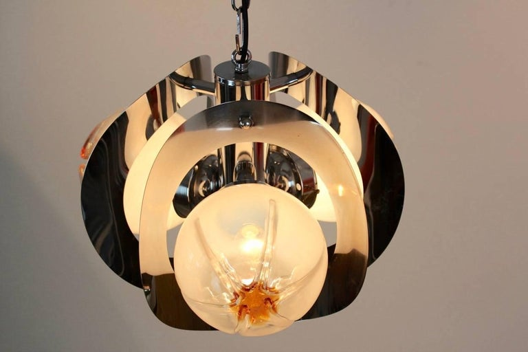 20th Century Geometric Chrome and Frosted Glass Chandelier by A.V. Mazzega For Sale