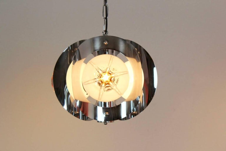 Murano Glass Geometric Chrome and Frosted Glass Chandelier by A.V. Mazzega For Sale